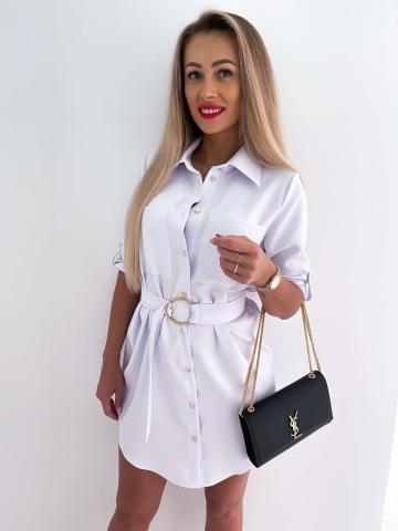 Biała koszulowa sukienka z paskiem Lavica
