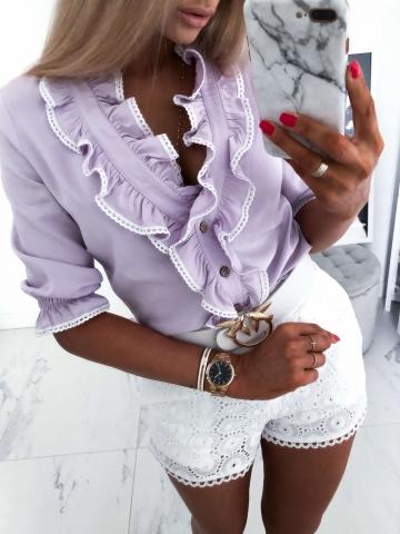 Liliowa bluzka z falbanką