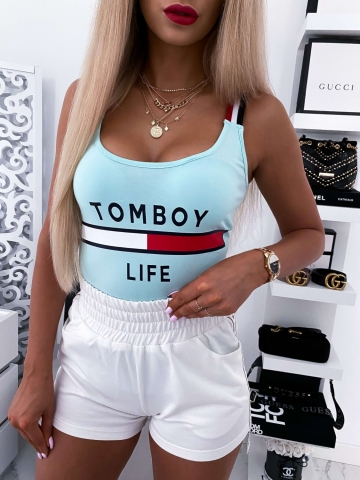 Miętowa damska bluzka na ramiączkach TOMYBOY