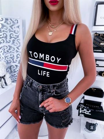 Czarna damska bluzka na ramiączkach TOMYBOY