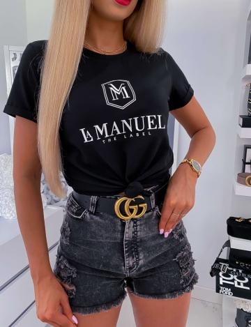 Czarny damski T-shirt La Manuel