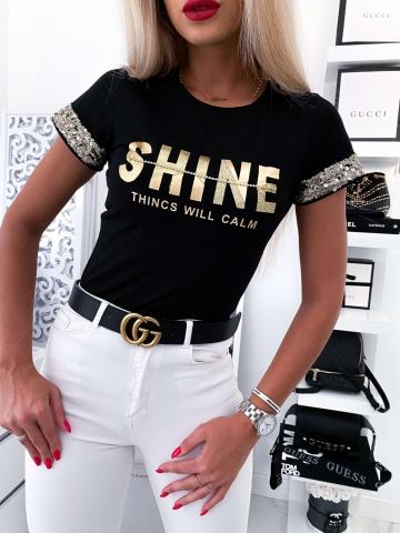 T-shirt czarny Shine