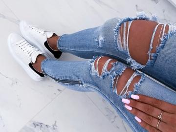 Spodnie Jeans Zip z dziurami