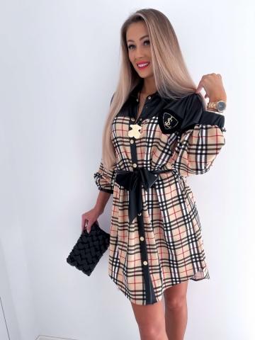 Beżowa sukienka Oversize w kratę