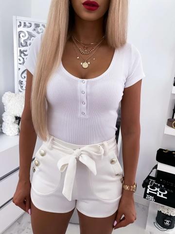 Biała bluzka z krótkim rękawem Lena