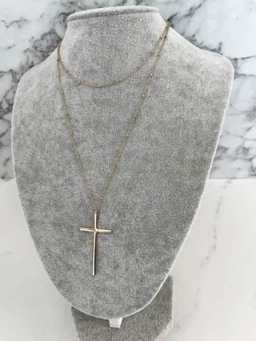 Naszyjnik duży krzyż GOLD stal nierdzewna