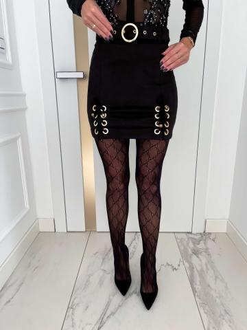 Czarna spódniczka zamszowa Luxury