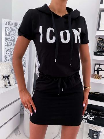 Czarna dresowa sukienka z kapturem ICON
