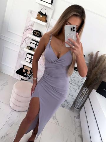 Szara brokatowa sukienka na ramiączkach Maxi