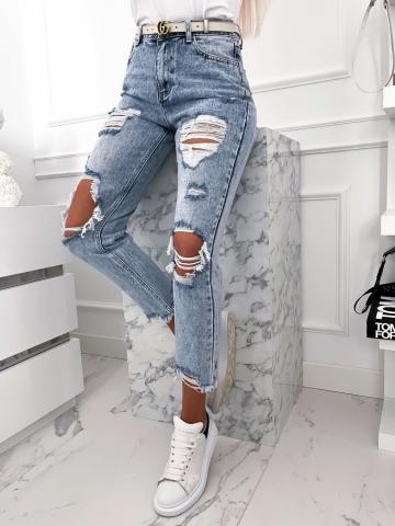 Spodnie Jeans z poszarpanymi nogawkami Boyfriend