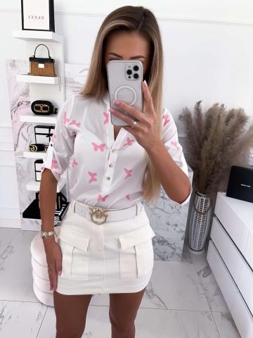 Koszula biała w różowe motyle La Blanche