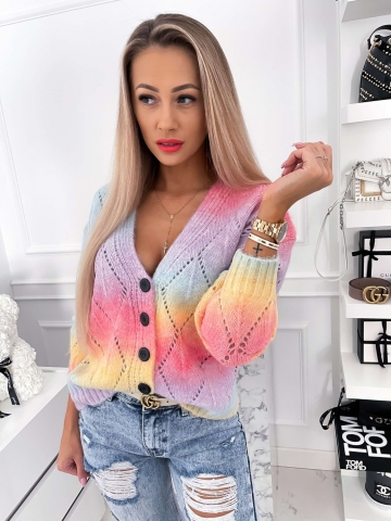 Ażurowy Sweter Rainbow zapinany na guziki