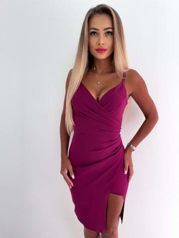 Sukienka purpurowa Midi z rozcięciem