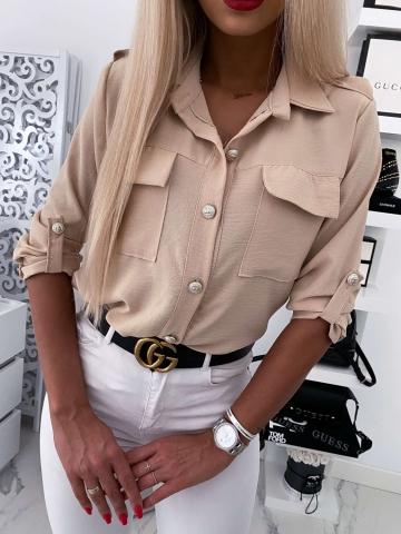 Beżowa koszula ozdobne guziki