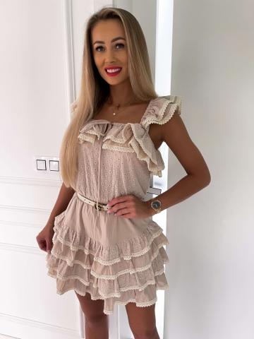 Beżowa ażurowa sukienka z koronką Livia