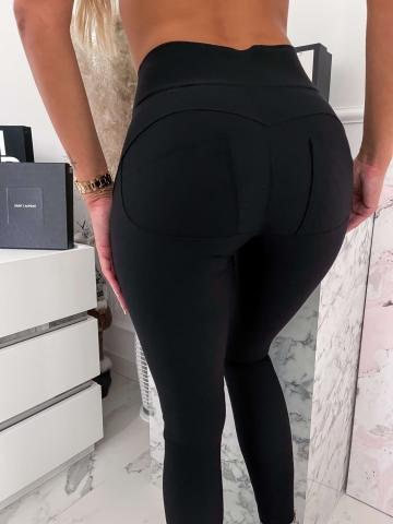 Czarne dopasowane spodnie z zameczkami