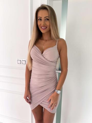 Beżowa brokatowa sukienka na ramiączkach Silver