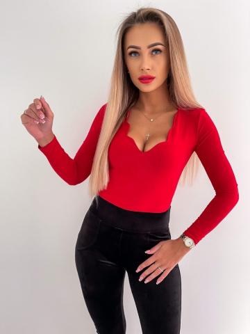 Czerwone Body z długim rękawem Lady