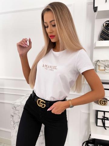 Biały T-shirt z naszywanym napisem La Manuel