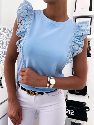 Bluzka damska z ozdobną gipiurą w kolorze niebieskim