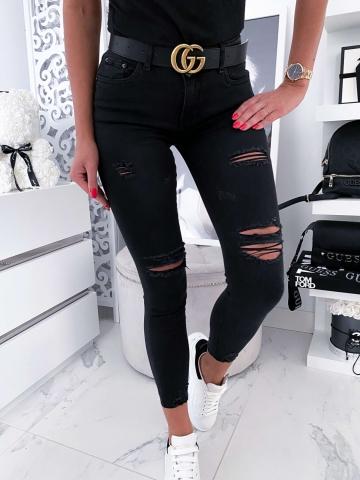 Czarne spodnie jeans z dziurami