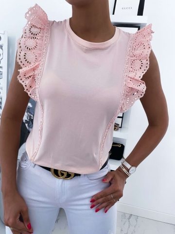 Bluzka damska z ozdobną gipiurą w kolorze różowym