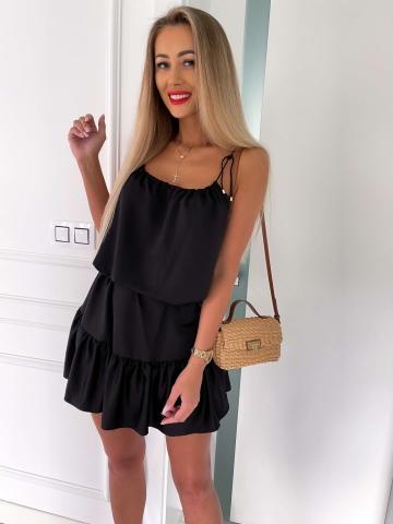 Czarna zwiewna sukienka na sznurkach Summer
