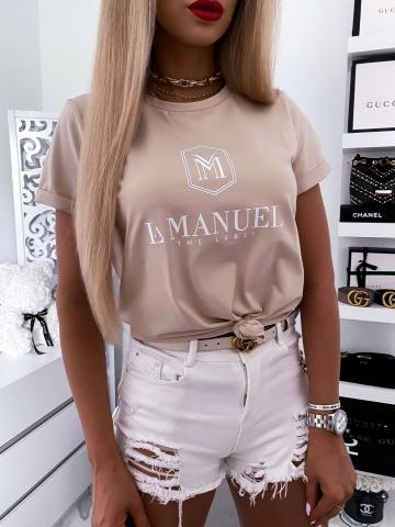 Beżowy damski T-shirt La Manuel