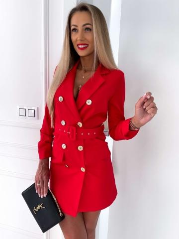 Czerwona sukienka Marynarkowa z paskiem Edan