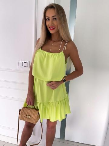Limonkowa zwiewna sukienka na sznurkach Summer