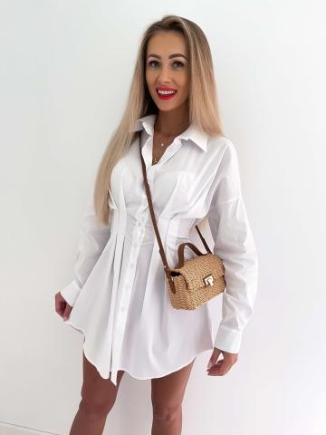 Biała taliowana sukienka koszulowa West