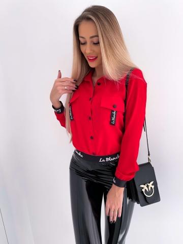 Czerwona koszula z kieszonkami La Blanche