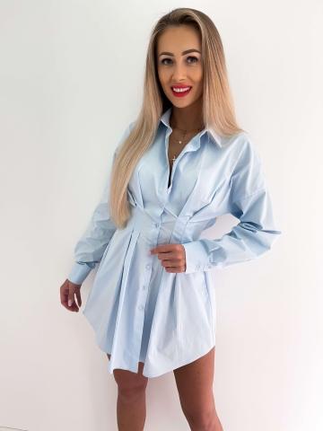 Błękitna taliowana sukienka koszulowa West