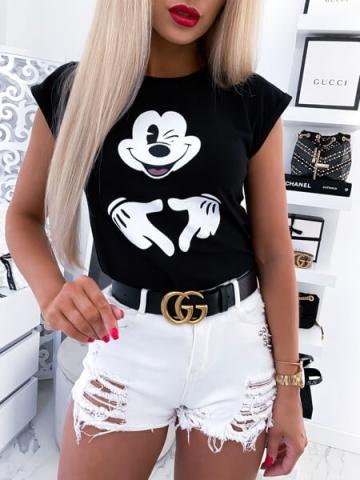 Czarna koszulka z nadrukiem Myszka Miki