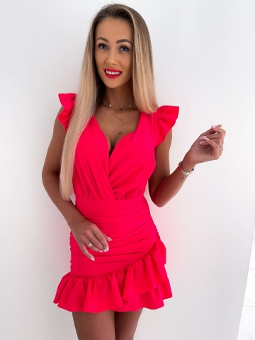 Sukienka dopasowana Katris neonowy róż