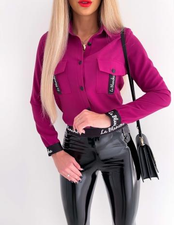 Purpurowa koszula z kieszonkami La Blanche
