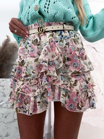 Zwiewna pastelowa spódniczka w kwiaty Bocca