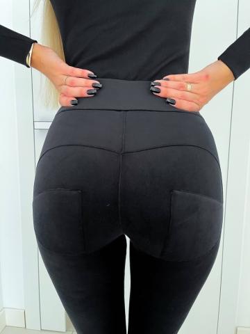 Czarne welurowe spodnie Push Up