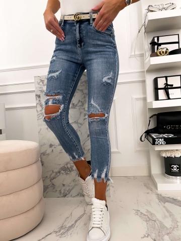 Spodnie z dziurami Blue Jeans postrzępione nogawki