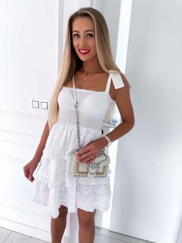 Sukienka biała rozkloszowana Xana