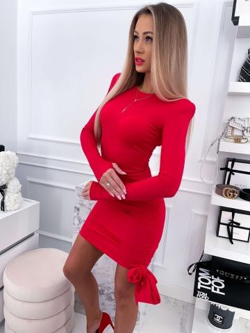 Czerwona dopasowana sukienka z kokardą LILI