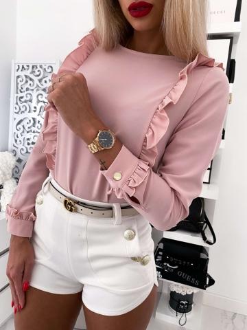 Pudrowa elegancka koszula z falbankami i guzikami