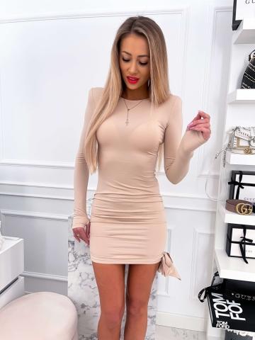 Beżowa dopasowana sukienka z kokardą LILI