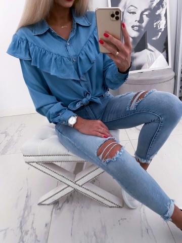 Koszula Jeans z falbanką