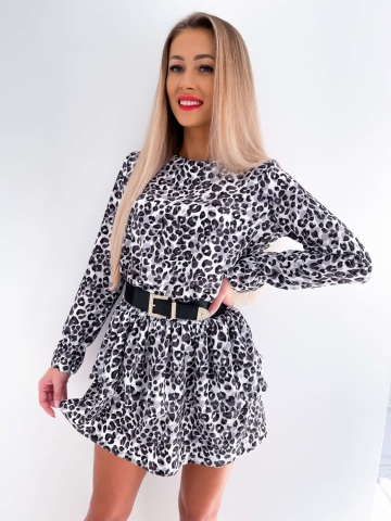 Sukienka czarni-biała panterka Loe