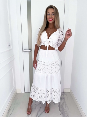 Biały ażurowy komplet Top+Spódnica Bella