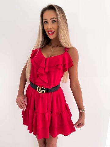 Czerwona sukienka na ramiączkach z falbankami