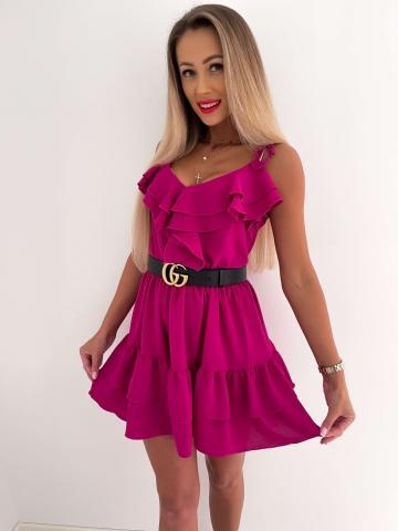 Purpurowa sukienka na ramiączkach z falbankami