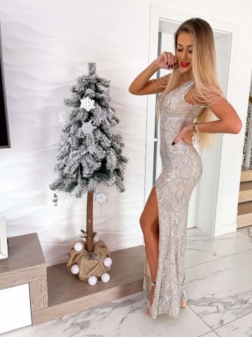 Cekinowa sukienka Silver Maxi z koralikami