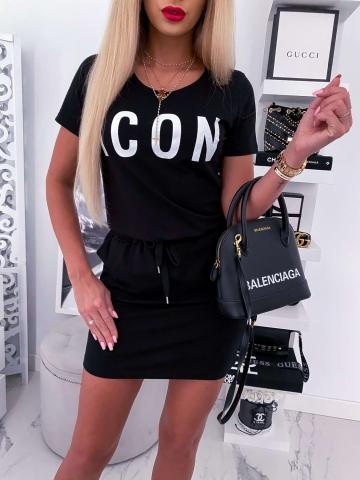 Czarna dresowa sukienka ICON
